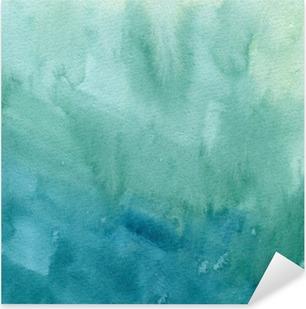 Pixerstick Sticker Hand getrokken turkoois blauw, groen aquarel abstracte verf textuur. Raster gradient splash achtergrond.