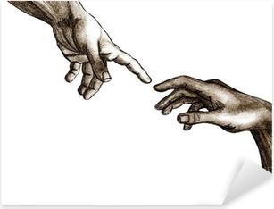 Pixerstick Sticker Handen van God en Adam