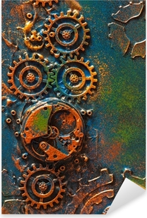 Sticker Pixerstick handmade steampunk background mechanical cogs wheels clockwork