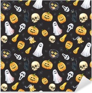 Happy Halloween seamless pattern background. Funny pumpkin, ghost, black cat, monsters. Watercolor illustration Pixerstick Sticker