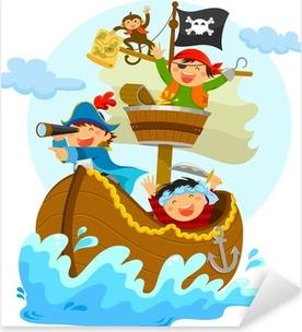 happy pirates sailing in their ship Pixerstick Sticker