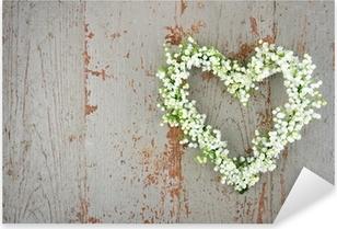 Pixerstick Sticker Hartvormige bloem krans van lilys van de vallei