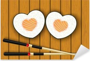 Heart-shaped sushi and chopsticks Pixerstick Sticker