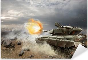 Heavy armor in the fire of battle Pixerstick Sticker