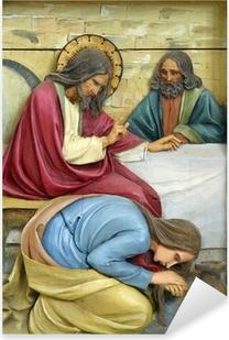 Pixerstick Sticker Heilige Maria Magdalena was Jezus de voeten