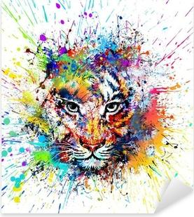 Pixerstick Sticker Heldere achtergrond met tijger