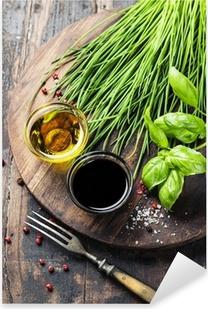 Sticker Pixerstick Herbes et épices sur planche de bois