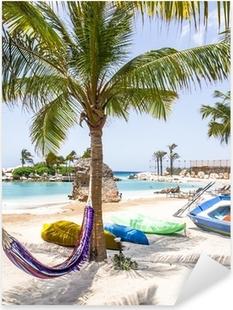 Pixerstick Sticker Het mooiste strand van Curaçao Caroibbean