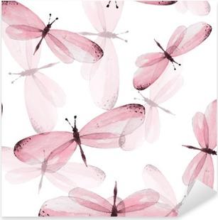 Pixerstick Sticker Het patroon van vlinders. Naadloze vector achtergrond. Illustratie van de waterverf 10