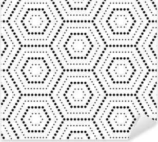 Pixerstick Sticker Hexagons textuur met stippen. Naadloze vector geometrisch patroon