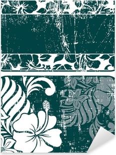 hibiscus grunge labels Pixerstick Sticker