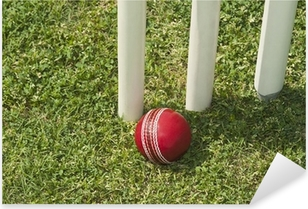 High angle view of a cricket ball near stumps Pixerstick Sticker
