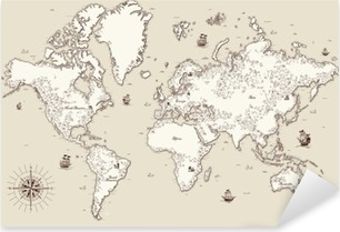 High detailed, Old world map with decorative elements Pixerstick Sticker