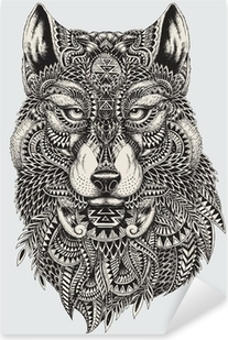 Highly detailed abstract wolf illustration Pixerstick Sticker