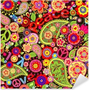 Pixerstick Sticker Hippie behang met kleurrijke lente bloemen