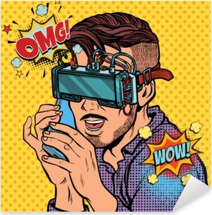 hipster man in virtual reality glasses talking on the phone Pixerstick Sticker