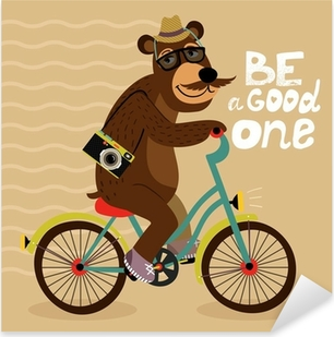 Hipster poster with geek bear Pixerstick Sticker