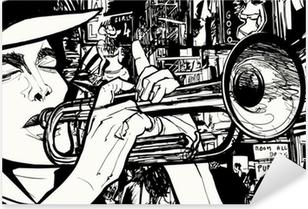 Sticker Pixerstick Homme jouant de la trompette dans une zone de lumière rouge
