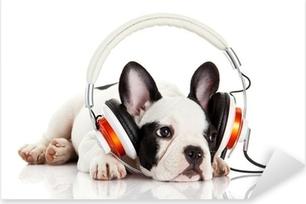 Pixerstick Sticker Hond luisteren naar muziek met een koptelefoon geïsoleerd op witte backgro