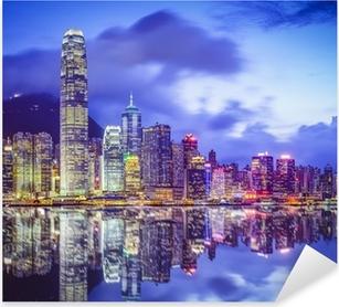 Sticker Pixerstick Hong Kong, Chine City Skyline
