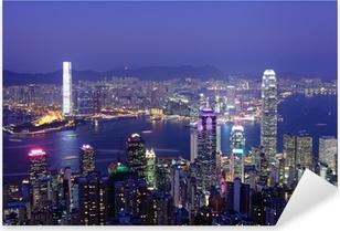 Sticker Pixerstick Hong Kong la nuit
