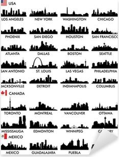 Sticker Pixerstick Horizon de la ville en Amérique du Nord