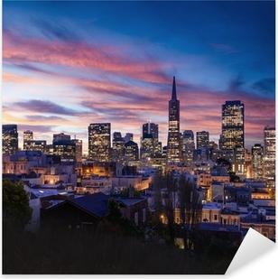 Sticker Pixerstick Horizon de San Francisco et Bay Bridge au coucher du soleil, en Californie