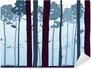 Pixerstick Sticker Horizontaal illustratie van dennenbos.