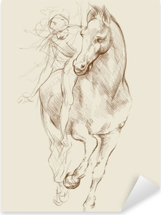 Horse and Rider. Based on drawing of Leonardo da Vinci Pixerstick Sticker