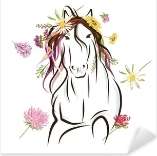 Horse sketch with floral decoration for your design. Symbol of Pixerstick Sticker