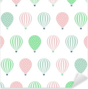 Hot air balloon seamless pattern. Baby shower vector illustrations isolated on white background. Polka dots and stripes. Pastel colors hot air balloons design. Pixerstick Sticker
