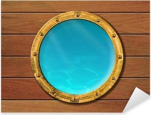Sticker Pixerstick Hublot de bateau avec vue sous-marine