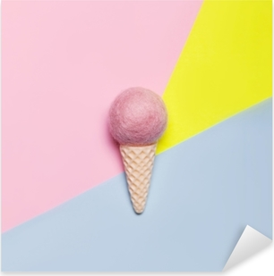 Ice cream on pastel colorful background. Minimal summer concept. Flat lay. Pixerstick Sticker