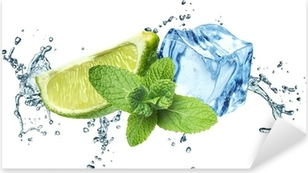 Ice cubes, mint leaves, water splash and lime on a white Pixerstick Sticker