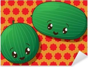 Sticker Pixerstick Icônes de la pastèque kawaii