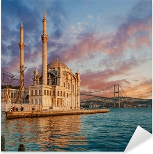 Pixerstick Sticker Iconic view of Istanbul from Ortakoy with The Bridge, The Mosque and The Bosphorus