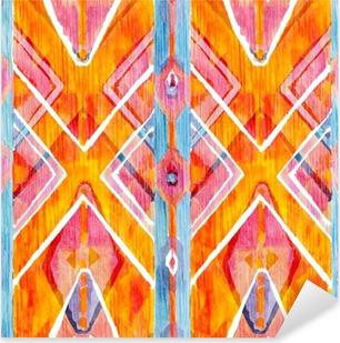 Pixerstick Sticker Ikat geometrische rode en oranje authentieke patroon in aquarel stijl. Waterverf het naadloos.