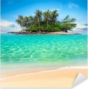 Sticker Pixerstick Île tropicale et la plage de sable exotique fond de voyage