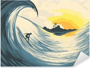 Sticker Pixerstick Île tropicale vagues et surfer