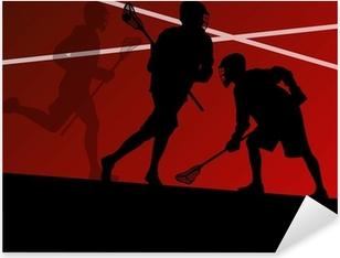 Sticker Pixerstick Illustrati silhouettes des joueurs de lacrosse de sport actifs de fond
