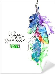 Pixerstick Sticker Illustratie met waterverf veren