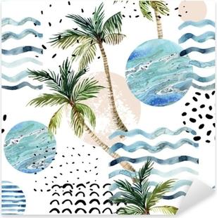 Sticker Pixerstick Illustration d'art avec des textures de palmier, doodle et marbre grunge.