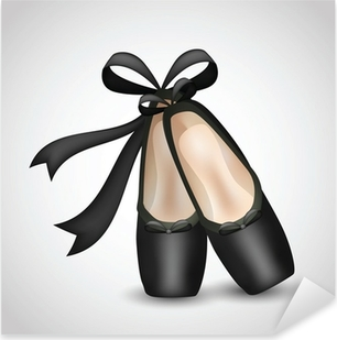 Sticker Pixerstick Illustration de chaussures réalistes ballet noir de pointes