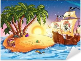 Sticker Pixerstick Illustration de l'île au trésor et bateau pirate