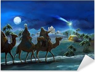 Sticker Pixerstick Illustration de la Sainte Famille et trois rois