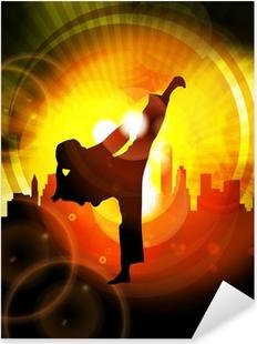 Illustration of karate Pixerstick Sticker