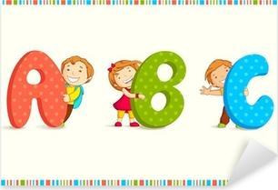Sticker Pixerstick Illustration vectorielle d'enfants lorgnant behing ABC