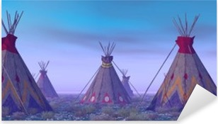 Indian Camp at Dawn Pixerstick Sticker