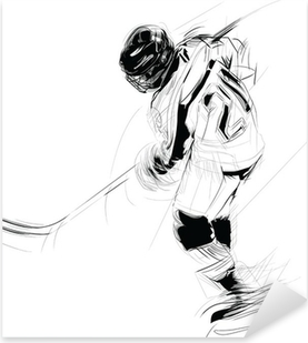 Ink drawing illustration of an ice hickey player Pixerstick Sticker