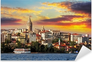 Pixerstick Sticker Istanbul bij zonsondergang - Galata district, Turkije